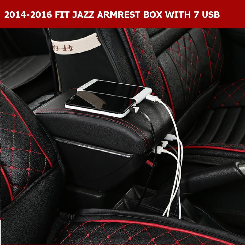 ФОТО 7USB BIGGER SPACE&LUXURY JAZZ FIT Car armrest box central Storage content box with cup holder &LED for JAZZ FIT CAR 2014-17
