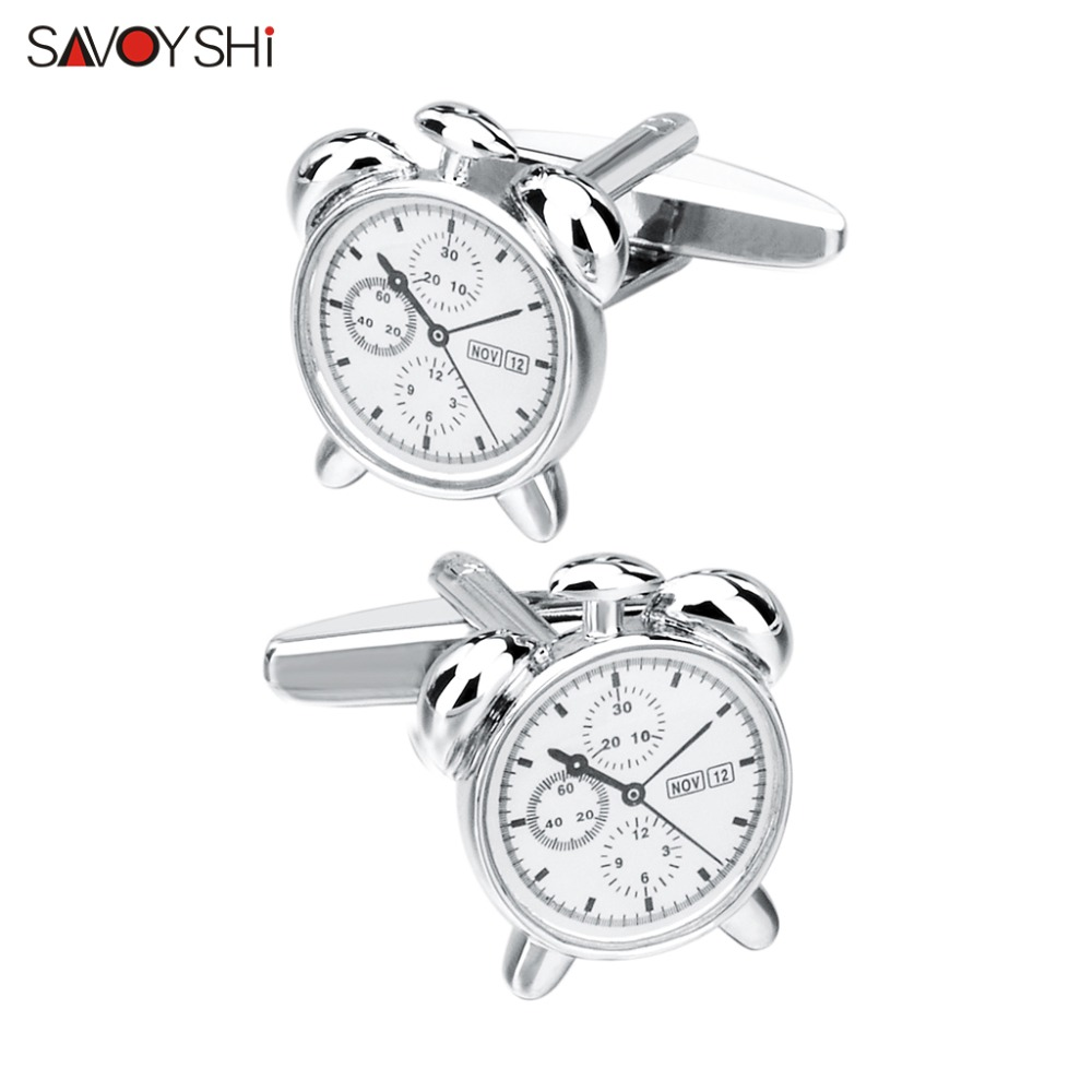 SAVOYSHI Novelty Male Shirt Cufflinks For Mens High Quality Silver Alarm Clock Model Cuff Links Brand Cuffs Accessories Free DIY