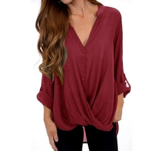 new Loose Festivals Classics Comfort Elegance Chiffon Blouse Women Daily Casual Plus Size Tops Cute V Neck 3/4 Sleeves Shirt xxl cute plus size scoop neck bird pattern blouse for women