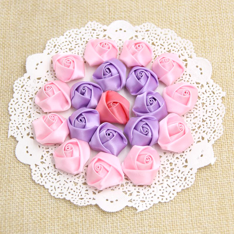 10pcs Lot Diy Satin Ribbon Roses Flower Appliques Scrapbooking