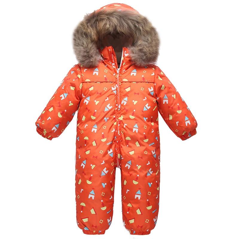 2018 зимние детские вниз комбинезон пуховик для мальчиков комбинезон Пуховое пальто для девочки натуральный мех дети блестящие пуховой комб