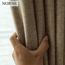 NORNE 30% Cotton 70%-80% Shading Rate Modern Style Solid Color Blackout Curtain For Living Room Bedroom Door Window Custom Made norne 30