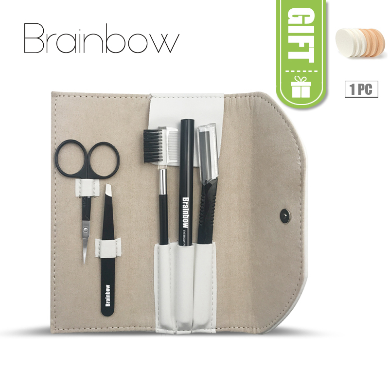 все цены на Brainbow 5pcs/bag Makeup Tool Kit Eyebrow Pen Eyebrow Tweezer Trimmer Razor Makeup Brushes Makeup Scissors Eyes Beauty Essential