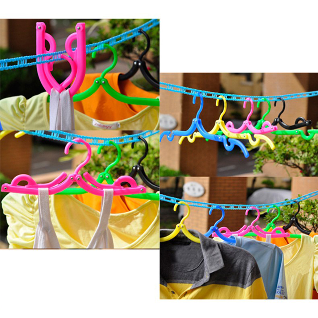Practical Plastic Hook Foldable Hanger Clothes Pegs Laundry Product Travel Space Saving Wardrobe Cloth Hanger Random Color