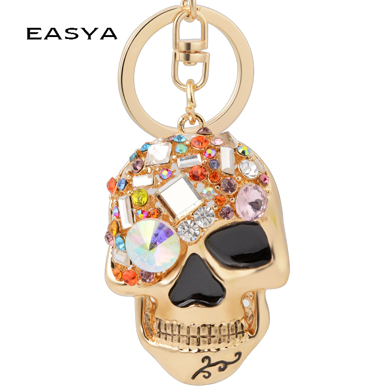 EASYA Evil Skull Keychain Multi Color Rhinestone Unique Jewelry Trendy Punk Key Chain Ring Holder Women Bag Accessories Pendant