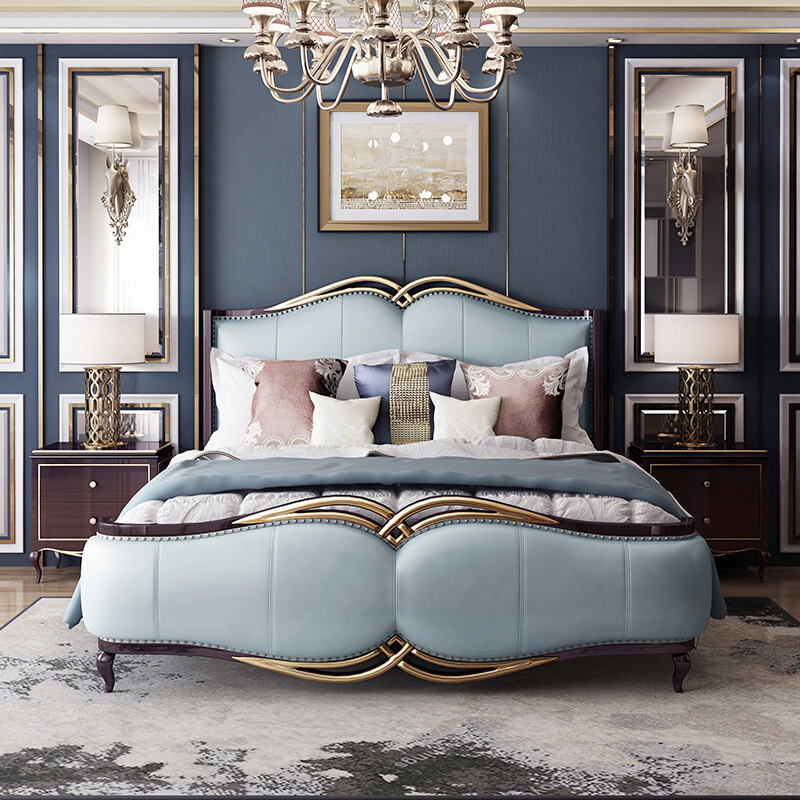 €1184.22 |Easyliving 2019 mobilier de chambre à coucher en cuir véritable  de style luxe léger-in Lits from Meubles on AliExpress