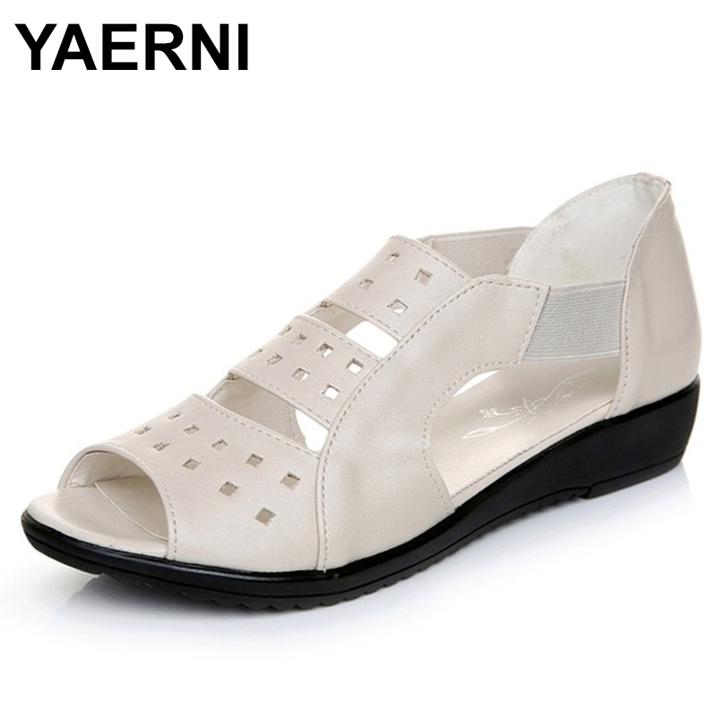 YAERNI Summer Women Shoes Woman Genuine Leather Flat Sandals Casual Open Toe Sandals Women Sandals lypo women sandals 2018 new flat bottom open toe bow candy color sandals casual crystal jelly shoes women breathable flat shoes