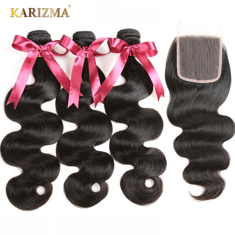 Karizma Peruvian Body Wave Bundles With Closure Free Part 100 Human Hair Weave 3 Bundles With