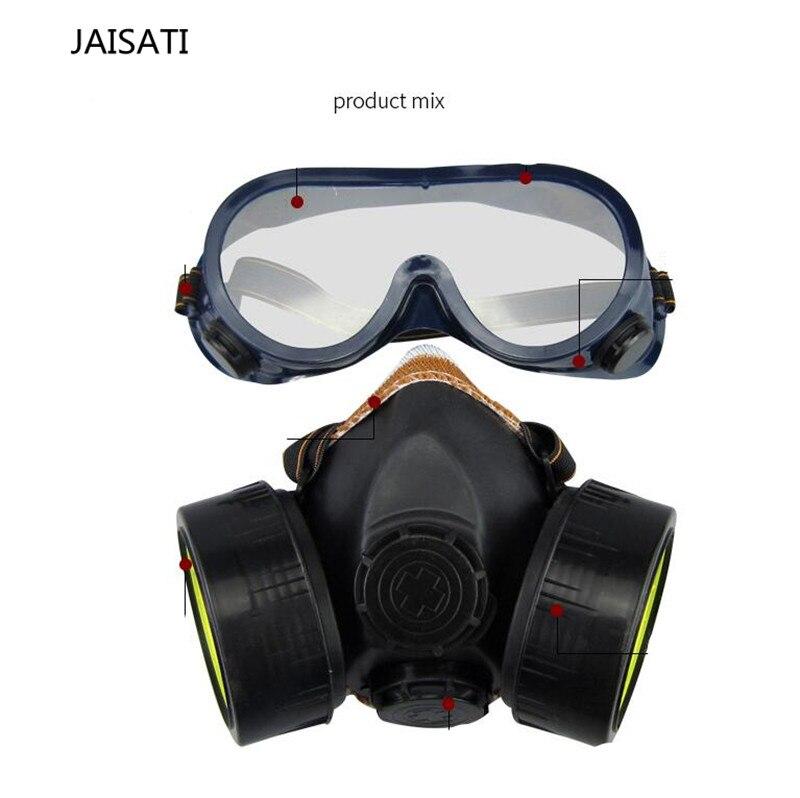 Noir Masque À Gaz D'urgence Survie de Sécurité De Gaz Respiratoires Masque Anti-Poussière de Peinture Respiratoire Masque avec 2 Double Protection Filtre Masque