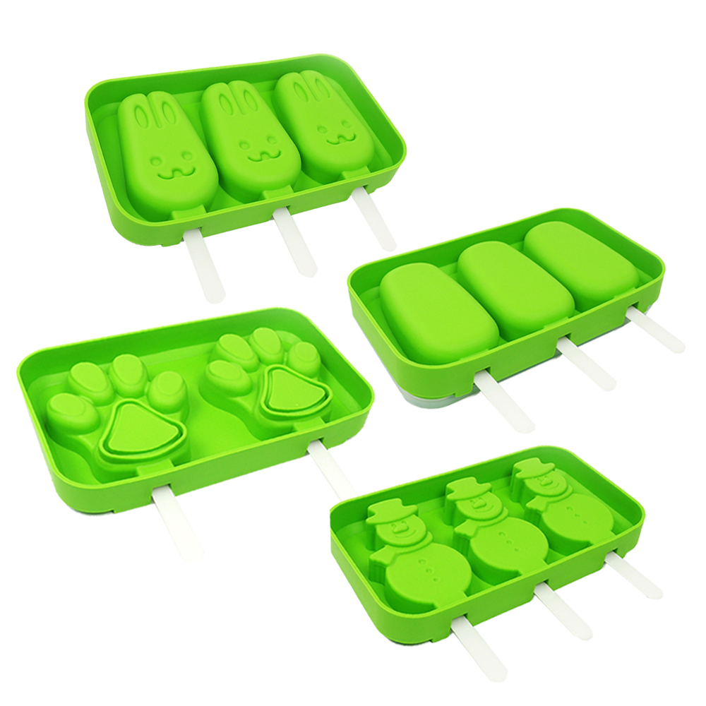 Silicone Ice Pop Molds Set,Popsicle Molds Ice Cream Maker,Silicone Chocolate Jelly Molds,Set of 4 (Paw,Bunny,Snowman,Oval)