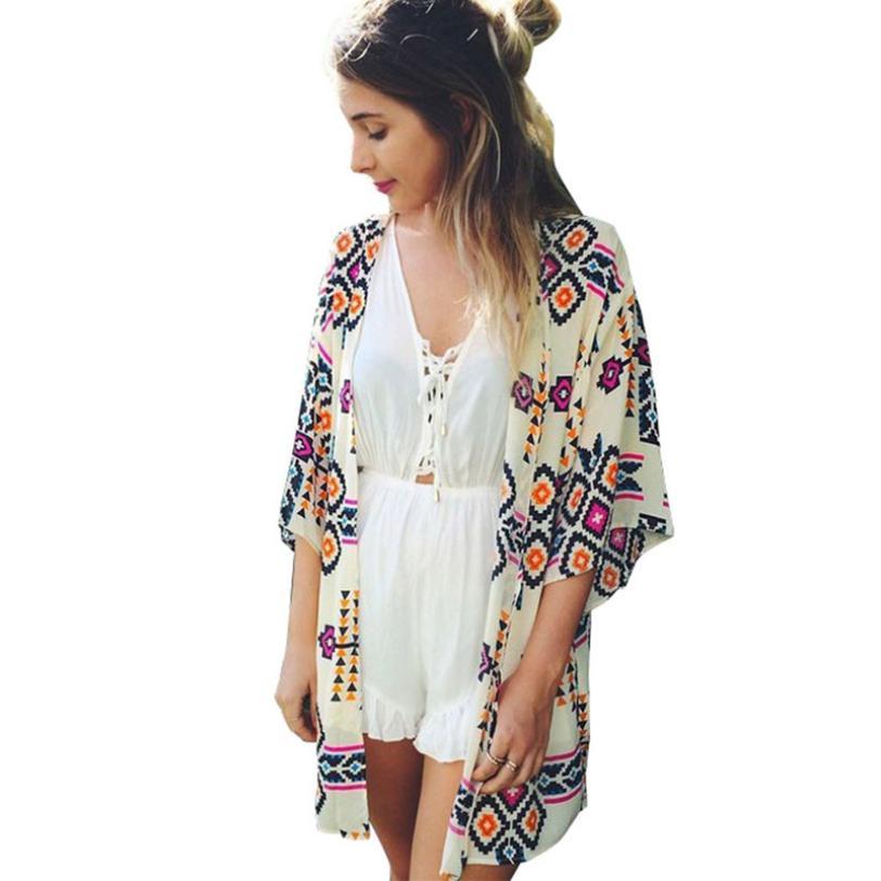 snowshine YLI Women Geometry Printed Chiffon Shawl Kimono Cardigan Tops Cover up Blouse