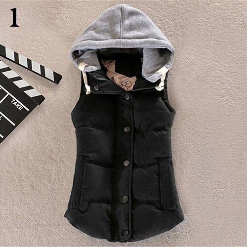 Women Winter Warm Thicken Vest Sleeveless Patchwork Hooded Outerwear Jacket