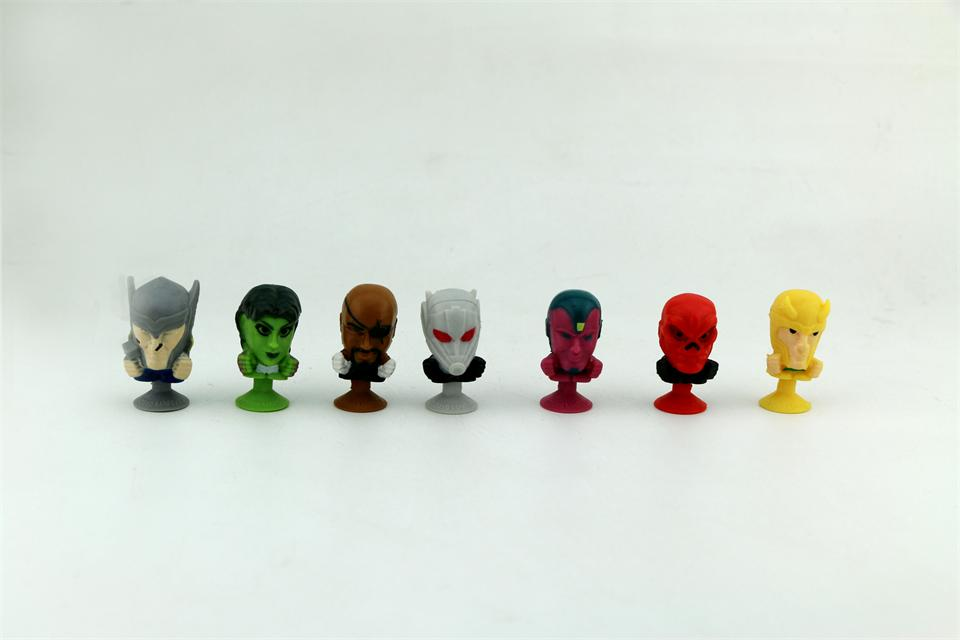100pcs Mini Sucker Dolls The avengers marvel Cupule Suckers kids Action Toy Capsule Model Suction Cup Puppets Action 48pcs lot action figures toy stikeez sucker kids silicon toys minifigures capsule children gift