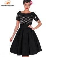 Womens Elegant Vintage Rockabilly Midi Dresses Summer Polka Dot Tunic Pinup Wear To Work Office Casual