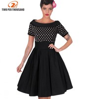 Womens Elegant Vintage Rockabilly Midi Dresses Summer Polka Dot Tunic Pinup Wear To Work Office Casual