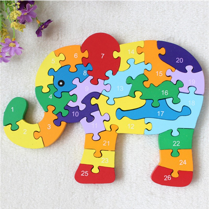 Childrens Educational Wooden Toys 26 English Letters For Kids Alphanumeric Elephant Wooden Puzzle Assembled Building PuzzleChildrens Educational Wooden Toys 26 English Letters For Kids Alphanumeric Elephant Wooden Puzzle Assembled Building Puzzle