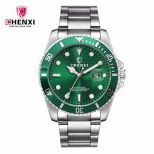 CHENXI роскошные серебряные для мужчин платье часы зеленый цвет нержавеющая сталь Японии двигаться t водонепроница…
