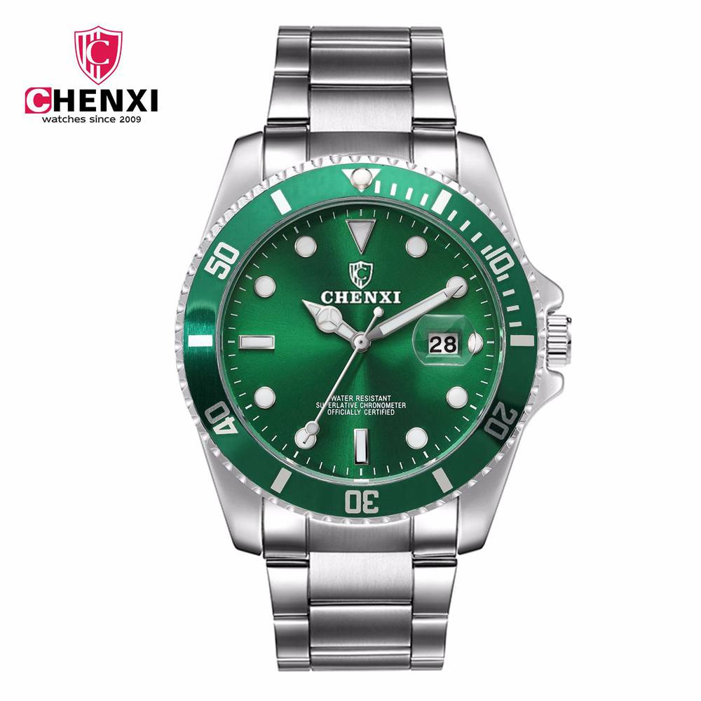 CHENXI Luxury Silver Men Dress Watches Green Color Stainless Steel Japan Movement Waterproof Casual Business Man's Wristwatch