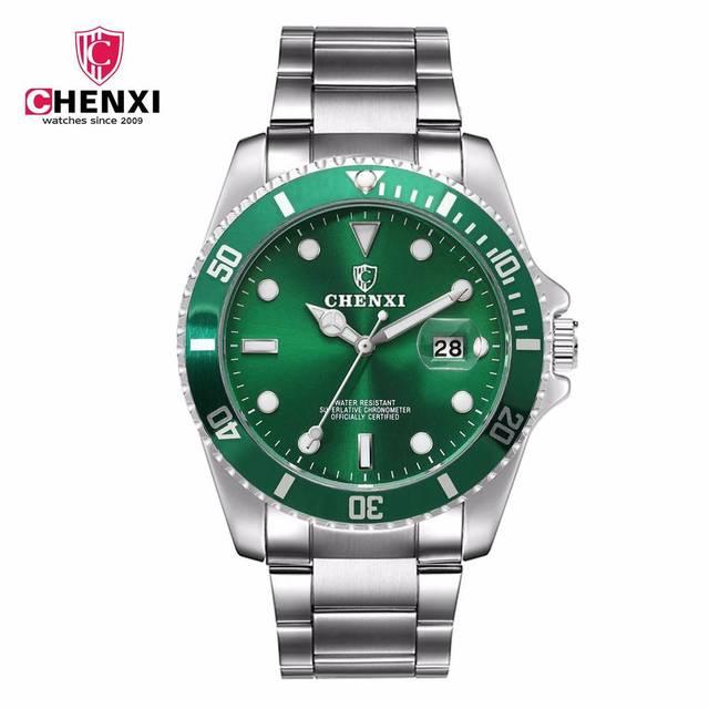 d48383789cd Os Homens Se Vestem Relógios CHENXI Luxo Prata Cor Verde de Aço Inoxidável  Japão Movimento relógio