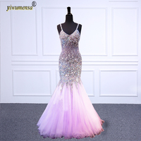 vestido formatura Red prom dresses long Purple Mermaid Beaded Crystal Prom dress Sexy Backless burgundy prom Gown Bridal dress