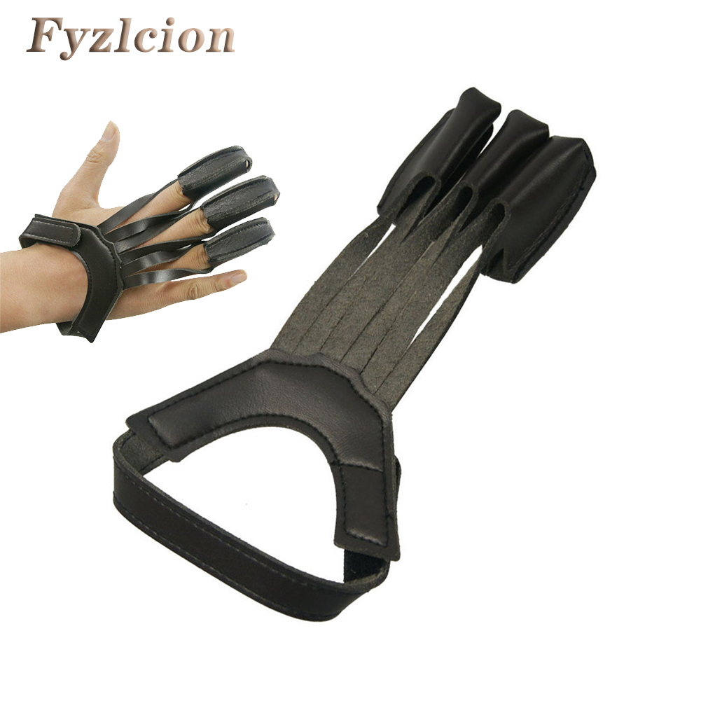 Black 3 Finger Protection Glove for Left Right Hand Hunting Target Shooting Training Pull Bow Arrow Finger Guard Protector