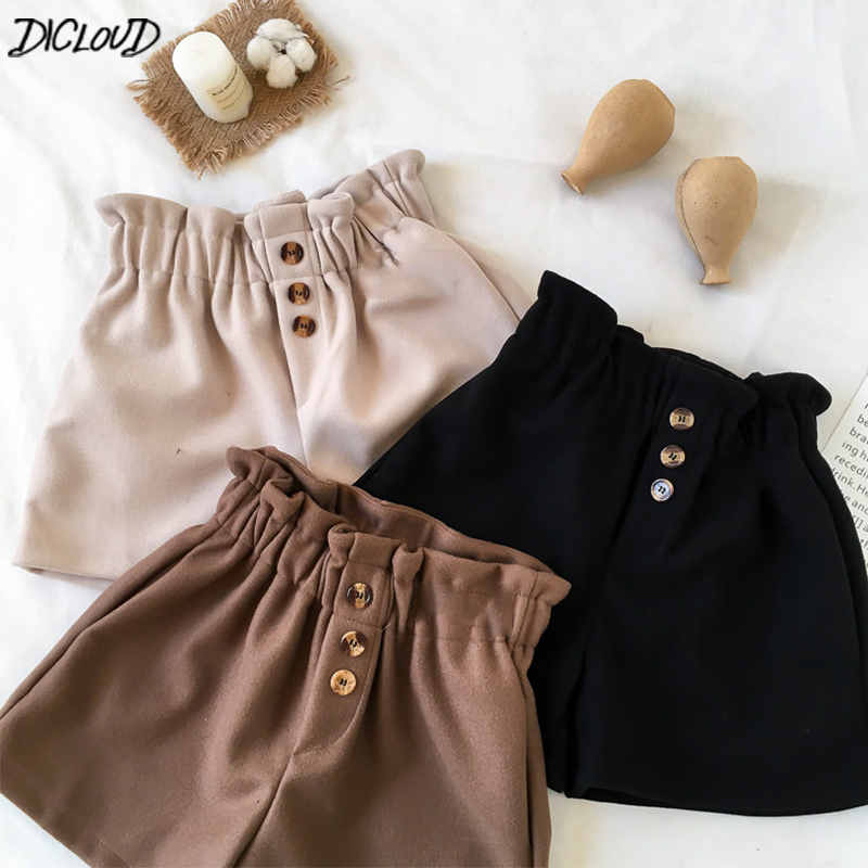 DICLOUD Elastic Waist   Shorts   Women Winter Vintage Plus Size   Shorts   Ladies Harajuku Casual Loose Bottoms Woman High Waist   Short