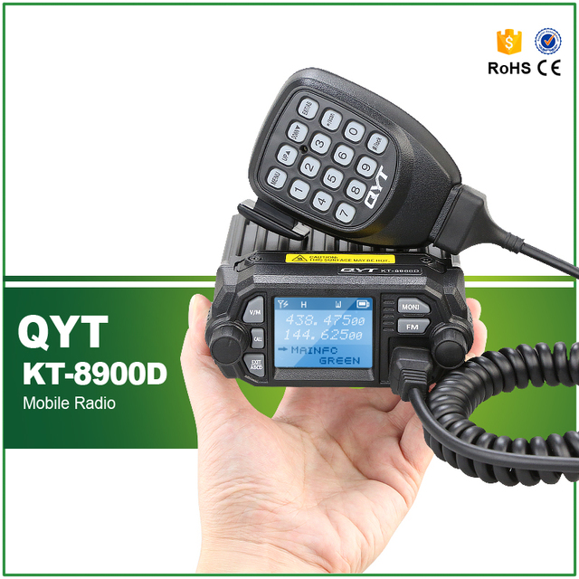 QYT KT-8900D Dual Band TX RX 136-174MHz/400-480MHz 25W 200 Channels Colorful Screen Mini Mobile FM Radio