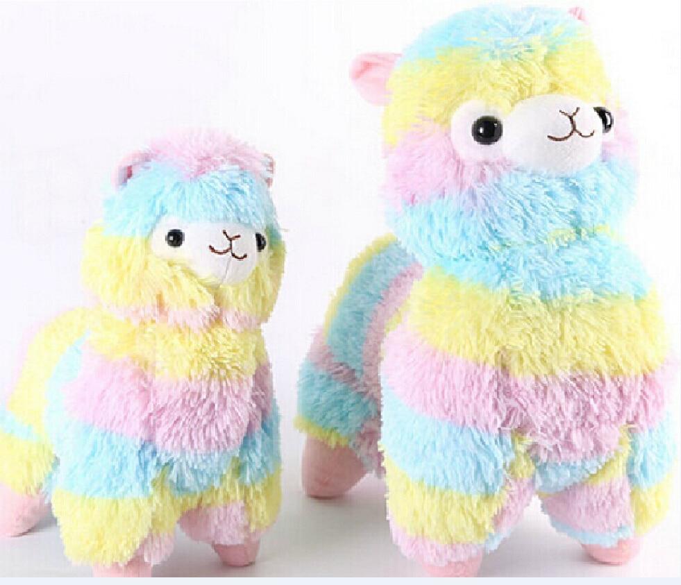 1PCS 35CM HOT Rainbow Alpaca Plush Toy Japanese Soft Plush Alpacasso Baby 100% Plush Stuffed Animals Alpaca Gifts