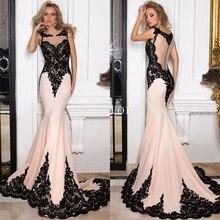 Elegante Apliques de Encaje Negro Vestidos de Noche 2017 Piso-longitud Larga de La Sirena de Baile Vestidos de Partido Del Vestido Vestido De Festa