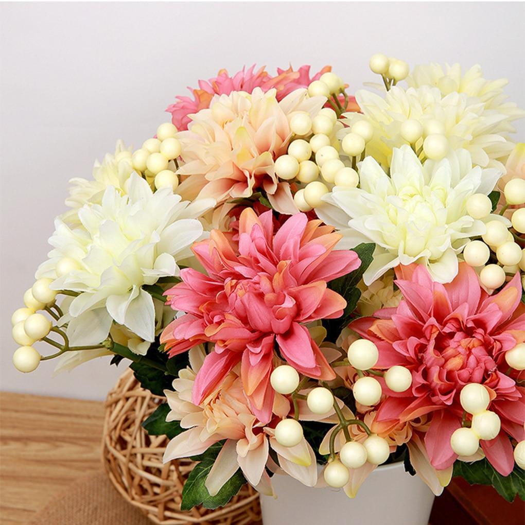 Artificial Flower Wedding Home Decor Bouquet Dahlia Silk