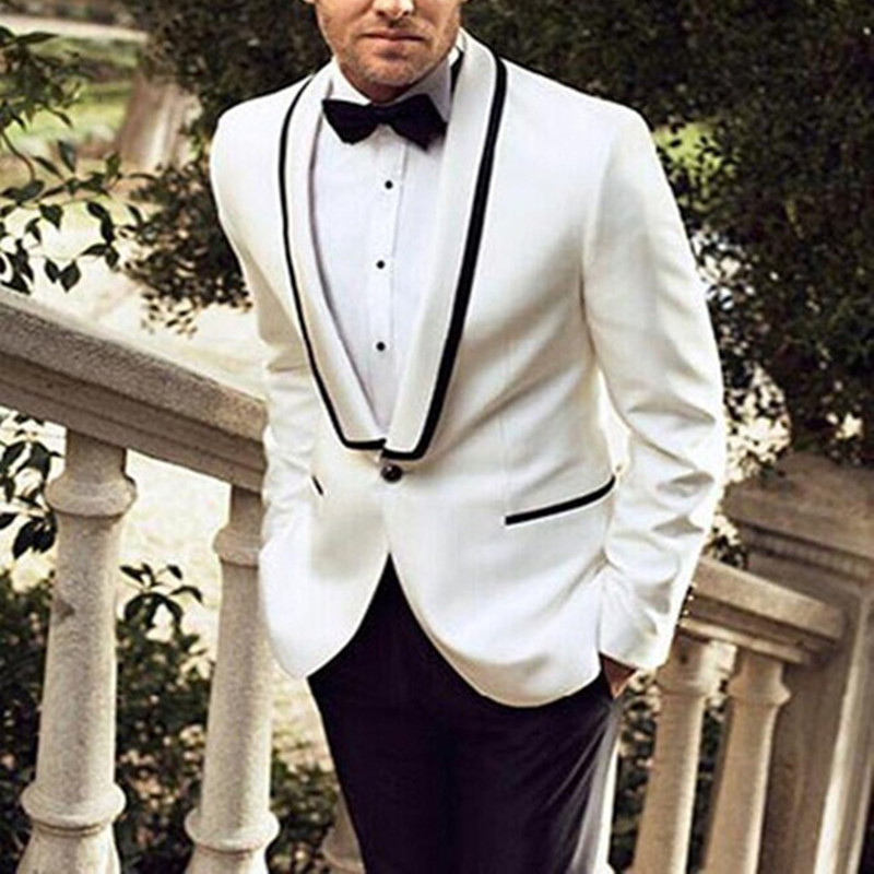 2017 Morning Style costume homme Shawl Collar terno masculinoMen Suit For Wedding Classic White Men Suits Blazer (Jacket+Pants)