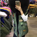 Fashion Autumn Winter Women Vest Artificial Raccoon Fur Collar Rabbit Vest Army Green Jacket Liner Female Sleeveless womens Vest