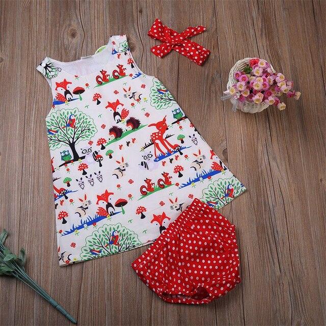 Noworodek dziewczynka ubrania maluch kwiatowa opaska kreskówka sukienka Dot spodenki stroje ubrania 0-24M 3 sztuk zestawy