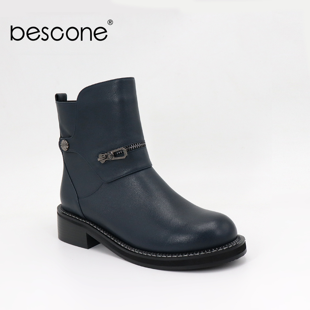BESCONE High Quality Ankle Boots Fashion Zipper Decoration Comfortable Cow Leather Lady Shoes Rubber Sole Warm Casual Boots BL25BESCONE High Quality Ankle Boots Fashion Zipper Decoration Comfortable Cow Leather Lady Shoes Rubber Sole Warm Casual Boots BL25