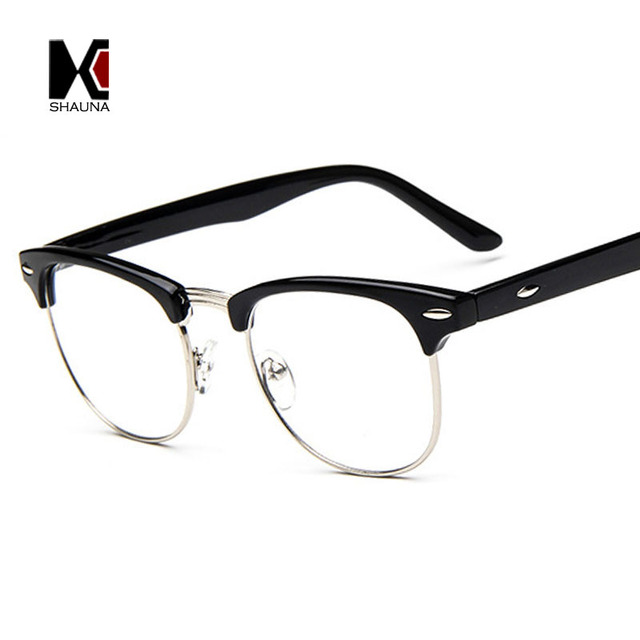 SHAUNA Vintage Men Retro Style Black Frame Plain Glasses Fashion ...
