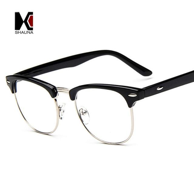 64ee275700a SHAUNA Vintage Men Retro Style Black Frame Plain Glasses Fashion Women Nail  Decoration Eyeglasses Optical Frame