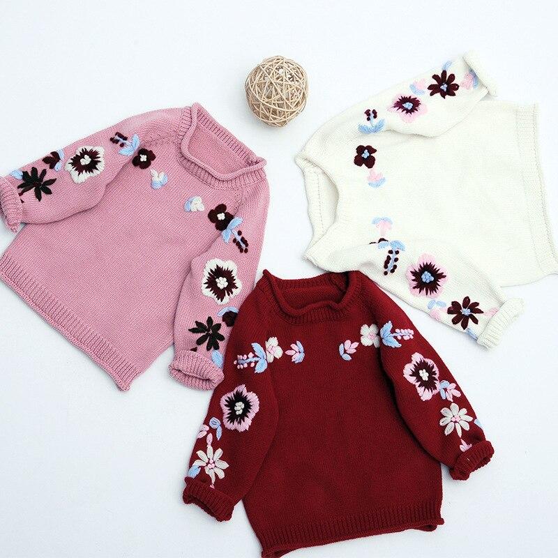0-3 T Mädchen Niedlichen Pullover Neue Hand Bestickt Pullover Baby Nette Blume Pullover Hemd Kinder Mädchen Kleidung Profitieren Sie Klein