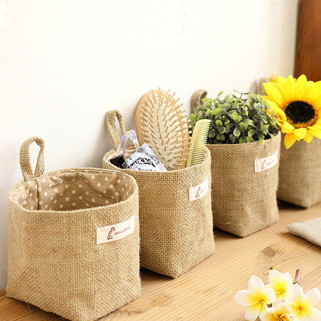 Super Cute Living Room Storage Sack Cloth Bags Hanging Grocery Flowerpot Housing Basket House Decor