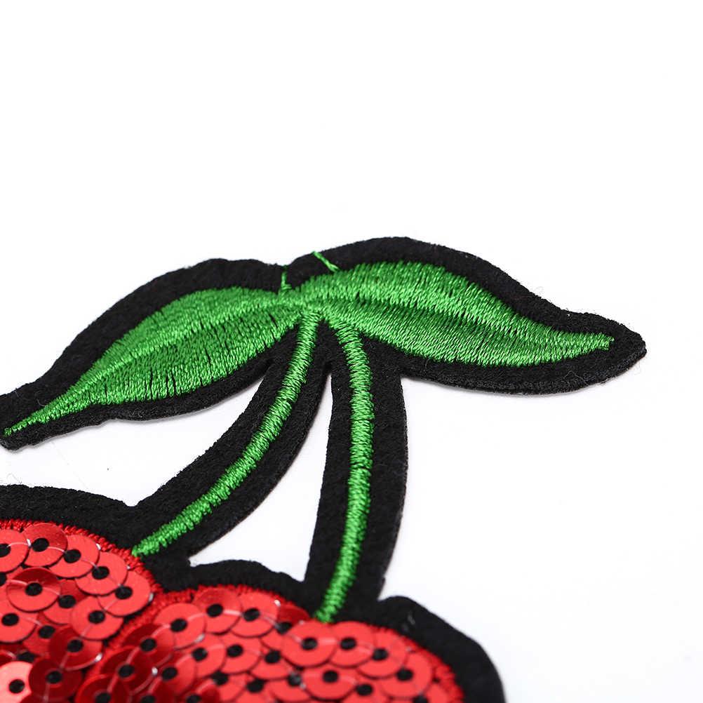 Ropa lentejuelas hierro-en rojo cereza Coser-en bordado parche motivo apliques niños mujeres DIY ropa pegatina boda navidad
