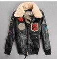 O envio gratuito de Couro AVIREX casal de modelos, jaquetas de couro mais grosso mulheres da força aérea macacão de vôo. M-XXL
