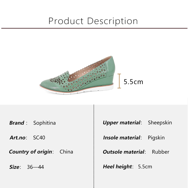 SOPHITINA Women s New Pumps High Wedges Genuine Leather Hollowing Out Round Toe Casual Shoes Handmade