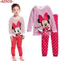 2016 New Year Girls Mickey Pajamas Suit For 2 7Years Children Nightgown Pyjamas Kids Hello Kitty