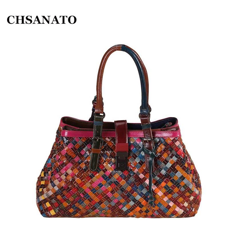 CHSANATO Multicolour Genuine Leather Bags Knitting Handbags Women s Shoulder Bag Messenger Bag Colorful Handbag Female