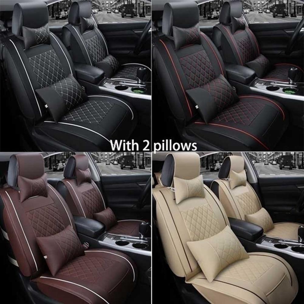 Housse de siège de voiture en cuir PU | 4 couleurs, couverture avant et arrière 5 sièges, taille automobile M, avec oreiller lombaire cervical