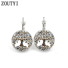 New / glamorous fashion retro life tree earrings, convex and concave glass inlaid earrings jewelry.