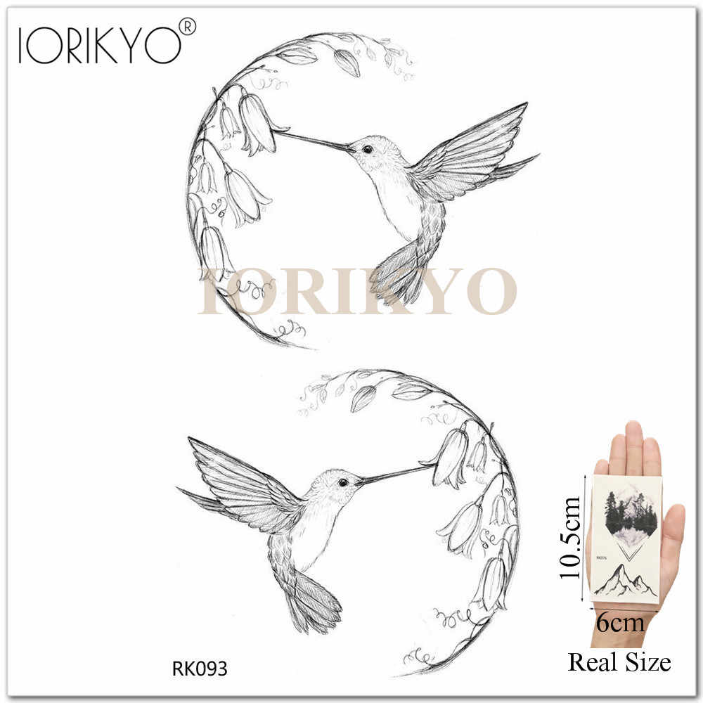 c092ef417 ... IORIKYO Pencil Sketch Hummingbird Tattoo Women Rose Flower Temporary  Tattoo Stickers Men Neck Wolf Fake Bird ...