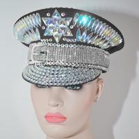 Burning Man голографическая украшение для головы с кристаллами рейверская Праздничная головной убор для вечеринок капитан военная шляпа блестя