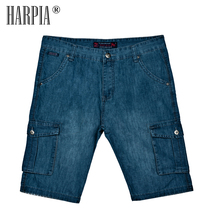 HARPIA Classic Mens Cargo Jeans Shorts Men Multi-pocket Jeans Blue Loose Straight Denim Shorts Male Cotton Plus Size Short Pants 2016 summer brand mens jeans shorts plus size black blue stretch thin denim jeans short for men pants free shipping page 1