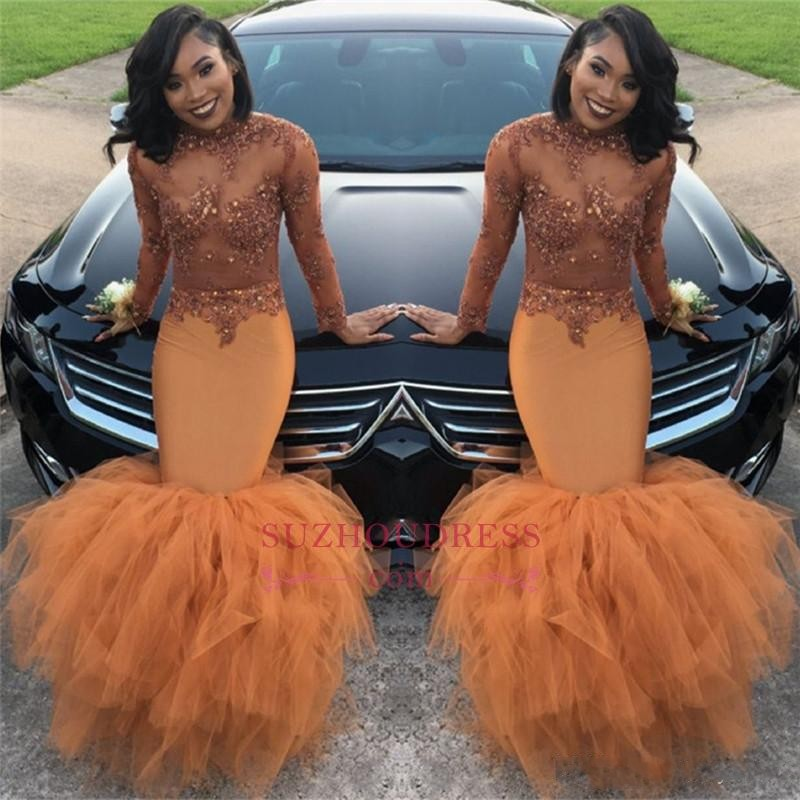Sexy Sheer Top Mermaid Orange Tulle Prom Dresses Long 2019 African Long Sleeves Prom Party Gown With Ruffled Train Evening Gown