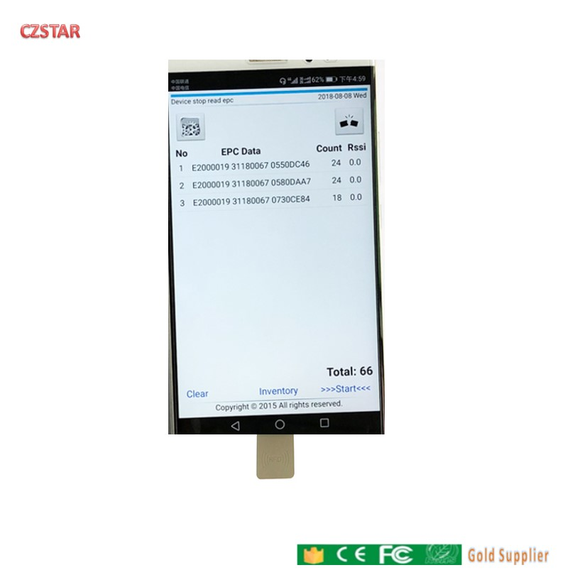 902-928MHz 868mhz short range USB OTG android cell phone uhf rfid reader with English apk sdk demo